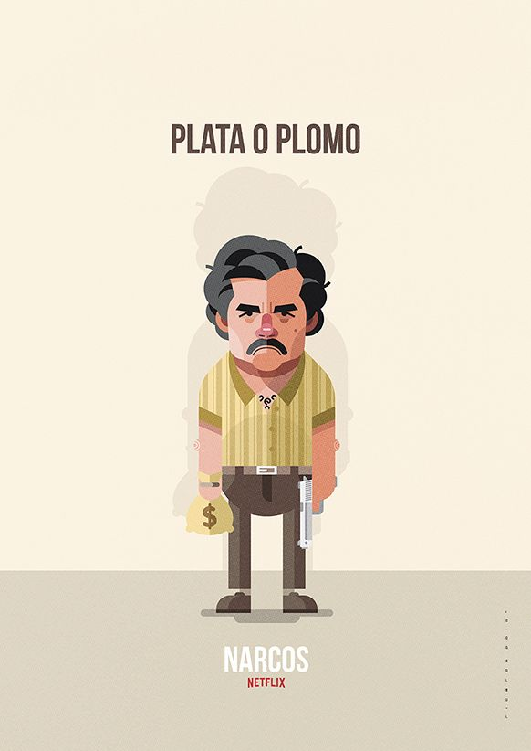 Ilustración del personaje de Pablo Escobar (interpretado por Wagner Moura) en la serie de Netflix 'Narcos'.