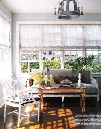 .Ideas, Elle Decor, Romans Shades, Sunrooms, Chairs, Window Treatments, Roman Shades, Windows Treatments, Sun Room