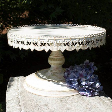 "16"" Diameter Metal Cake Stand, 10"" tall, Vintage White Dessert Stand, 1 Pk"