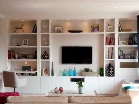 Réalisation d'une bibliotheque sur mesure dans un salon avec meuble télé Boulogne Billancourt - YouTube