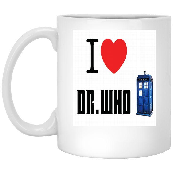 A I HEART LOVE DOCTOR WHO TARDIS TIME LORD DAVID TENNANT BILLIE PIPER BBC SCI FI MENS PREMIUM XP8434 11 oz. White Mug
