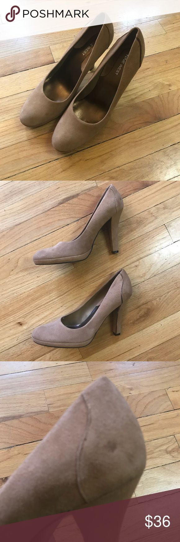 """Tan Suede Nine West Heels Unworn Size 10M Tan Suede Nine West Platform Heels. Minor damage seen on both shoes in picture - they've been in moving box with other shoes for 3 months. They have 1/2 inch platform. 4.5"""" heel. Nine West Shoes Heels"""