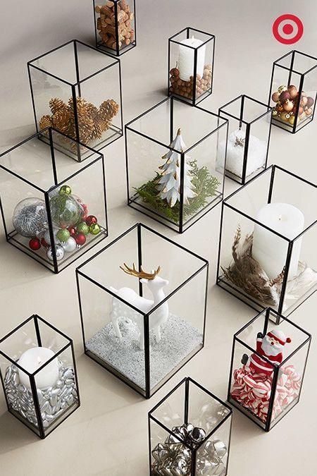 Decoración de Navidad minimalista: cubos de vidrio #decoracion #minimalista…