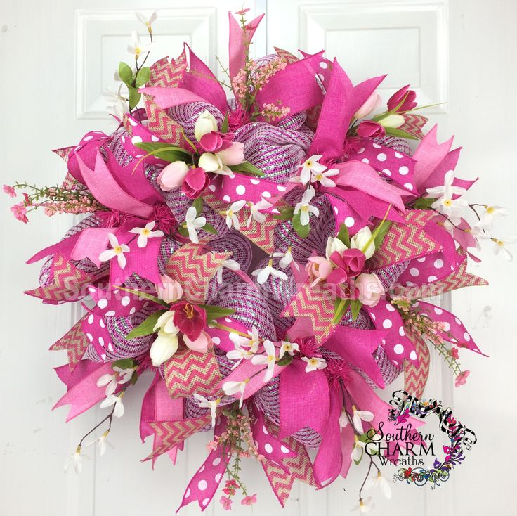 Deco Mesh Spring Wreath - Hot Pink - Ribbon - Tulip Burlap Wreath by www.southerncharmwreaths.com