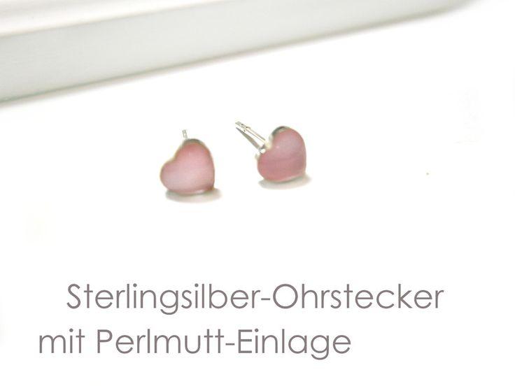 Ohrstecker+Herz+Silber+925+von+DeineSchmuckFreundin+-+Schmuck+und+Accessoires+auf+DaWanda.com