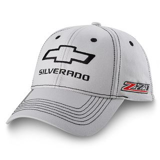 Chevrolet Silverado Z71 Light Gray Hat made of 100% cotton twill featuring an embroidered black outline of the Chevy Bowtie and black Silverado lettering on the front crown. Six row black stitching th