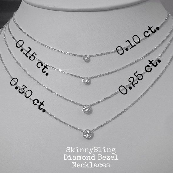 Bezel Set 0.25 ct. Diamond Solitaire Necklace by SkinnyBling