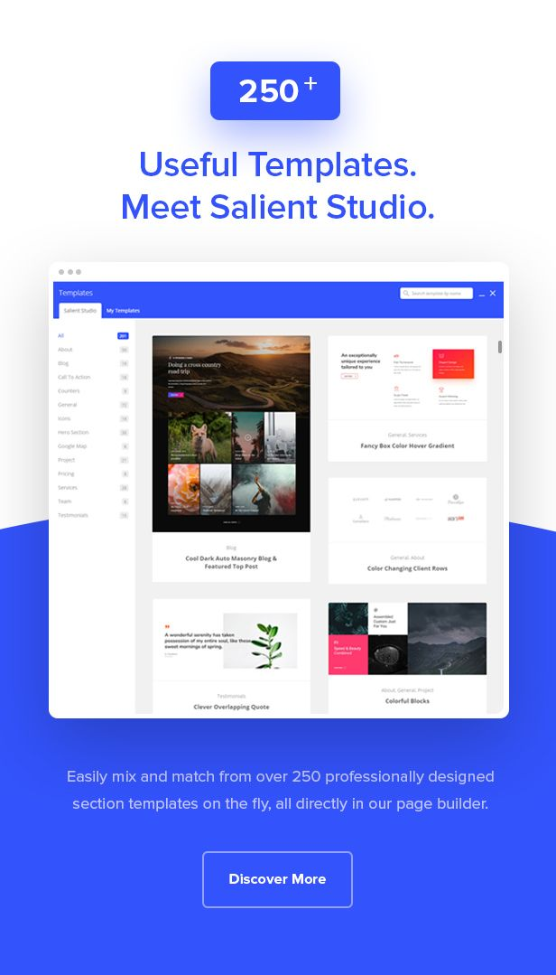 250 plus useful templates Create website and blog with drag and drop