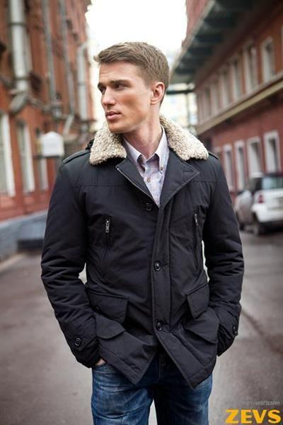 Куртка мужская демисезонная с меховым воротником