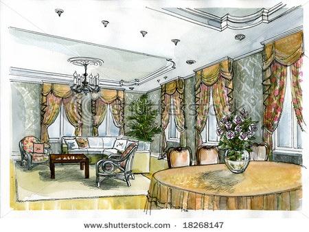 Interior Design Color Sketches 160 best interior design sketches images on pinterest | interior