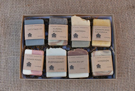 This gift set is for eight 1.5 oz organic soaps. Having trouble picking which soap scents you want? Try 8 of them! Pick your favorite Botany Barn soaps and build a custom gift box for someone special! To build your own combo pack, add the item to your cart, then when you check out simply leave the names of the soaps you want in the Add an optional note to seller box, or leave a note about who the gift is for and I am happy to help you decide. Choose all different or a few of the same, its up…