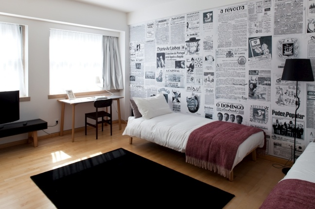 newspaper wallpaper, perfect for an accent wall or a ceiling