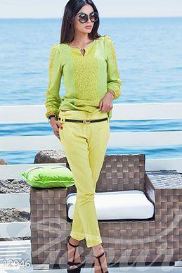 Przycięte spodnie żółty zdjęcie 1