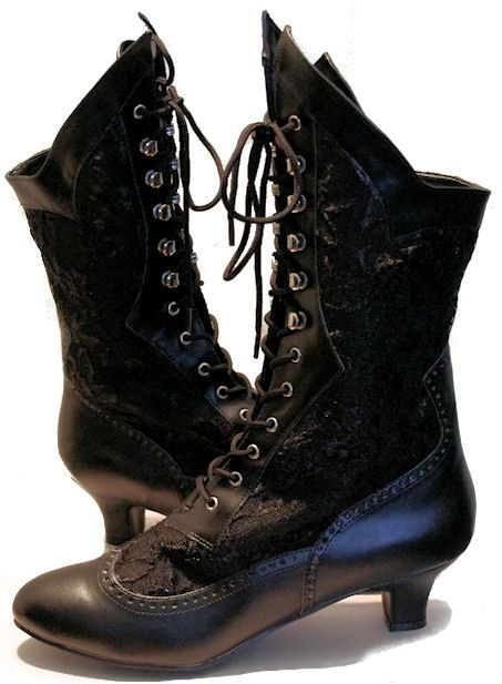 """2"""" heels on these ultra retro inspired lace uppers.  7 1/4"""" shaft height  10 1/4"""" boot opening"""