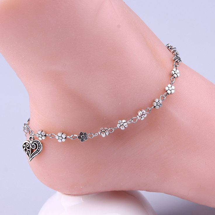 New Women Fine Jewelry Tibetan Silver Plum Flowers Peach Heart-Shaped Anklet VB993 P30. | Dream Jewelry Place. Find Earring, Necklace, Rings and More.