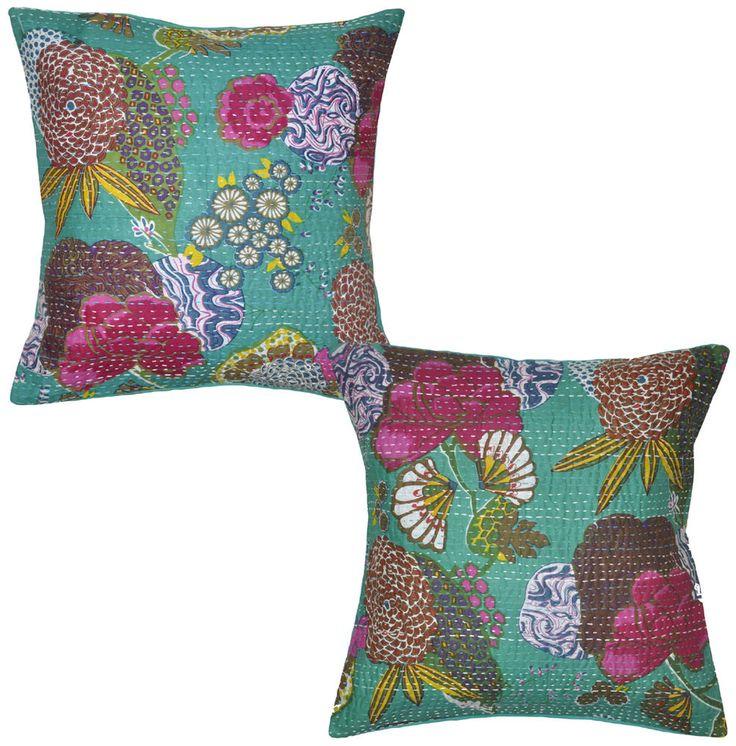 Green Cotton Cushion Covers Pair Indian Printed Handmade Pillow Case Throw 16X16