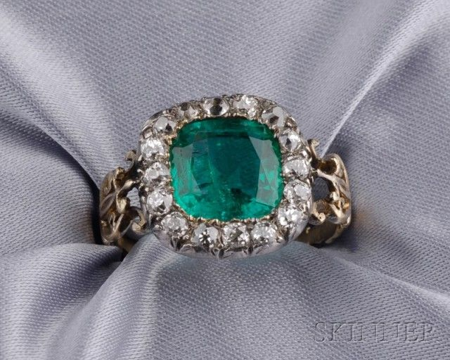 Antique Emerald and Diamond Ring | Sale Number 2487, Lot Number 491 | Skinner Auctioneers