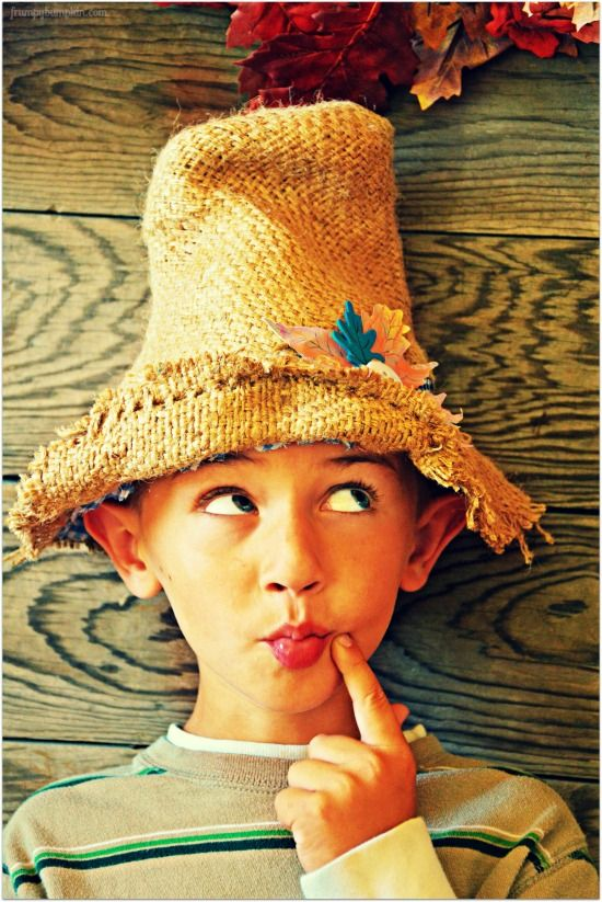 Easy steps for making a No-Sew Scarecrow Hat with burlap and hot glue.