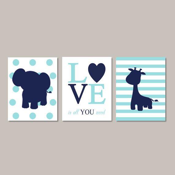 ELEPHANT Nursery Wall Art Boy Elephant by LovelyFaceDesigns