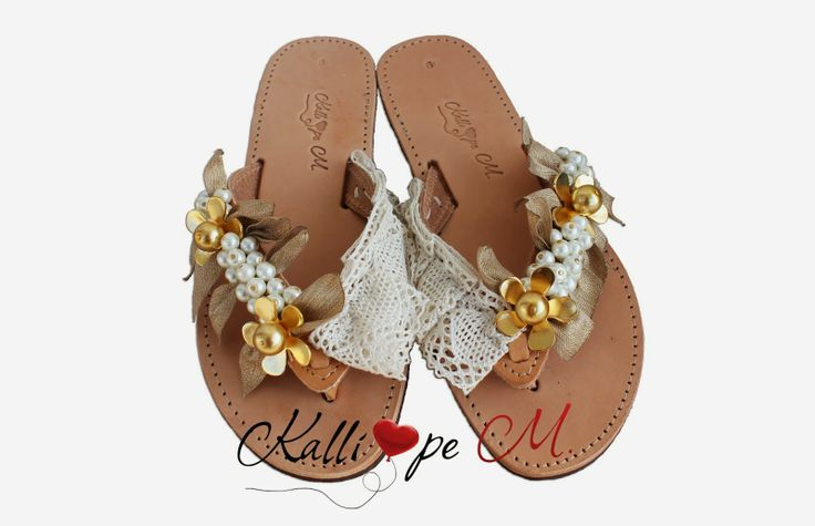 Handmade leather sandals decorated with lace, pearls, metalic materials, ribbons. #summer sandals #handmade sandals #wedding sandals
