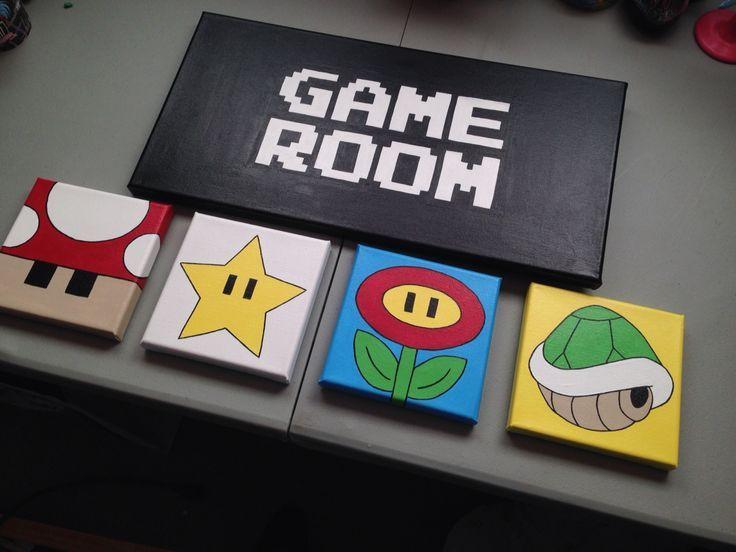 Nintendo Game Room individuell gestaltet und handbemalt Multi Leinwand Kunst Super Mario