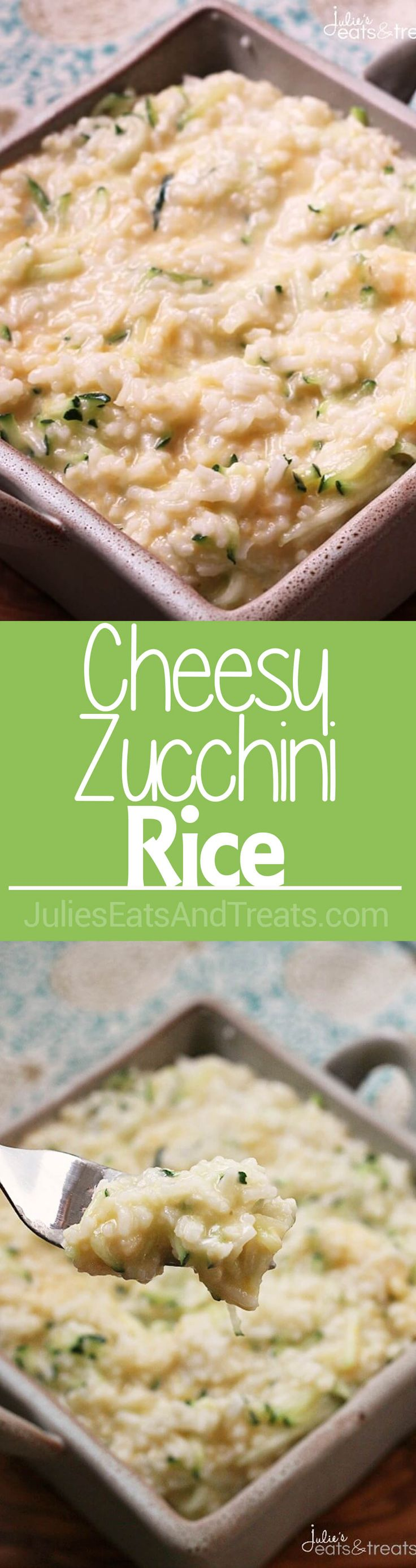 Cheesy Zucchini Rice ~ Easy Side Dish for the Week Night Loaded with Rice, Zucchini & Cheese! ~ http://www.julieseatsandtreats.com
