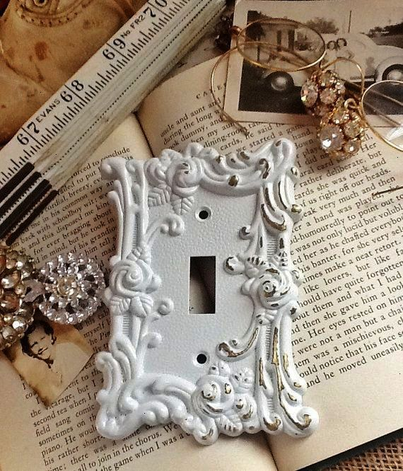Vintage Metal Wall Decor Light Switch Cover In White Shabby Chic Single Switch Cover Vintage Roses Ornate Distressed Spring Flowers Roses On Crafts Wall