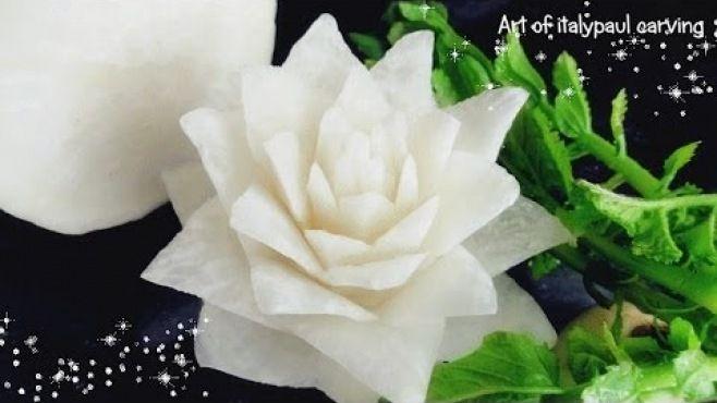 Sebze Oyma Dersleri - Beyaz Turptan Nilüfer Çiçeği Yapımı - Sebze oyması - teknikleri, örnekleri ve ipuçlarını videolu anlatımı. Beyaz turptan nilüfer çiçeği yapımı