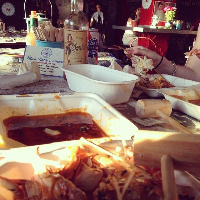 prawns and beer and crab boil