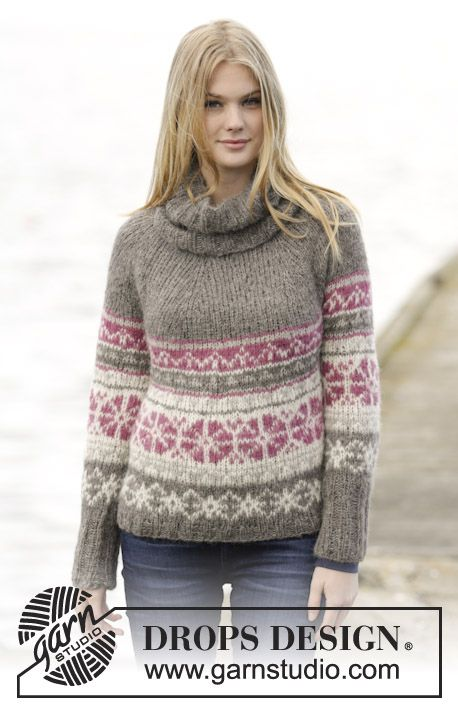 Alpaca Jumper Knitting Pattern : Awesome jumper with Nordic pattern and round yoke in #DROPSDesign ?Brushed Al...