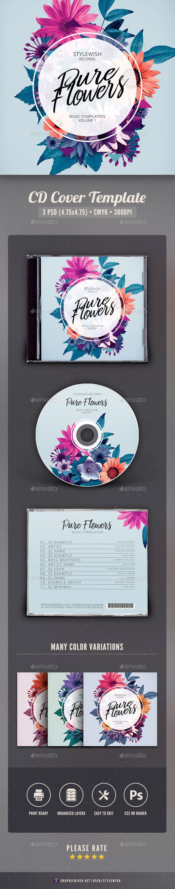 Pure Flowers CD Cover Artwork — Photoshop PSD #nature #leaf • Download ➝ https://graphicriver.net/item/pure-flowers-cd-cover-artwork/20116763?ref=pxcr