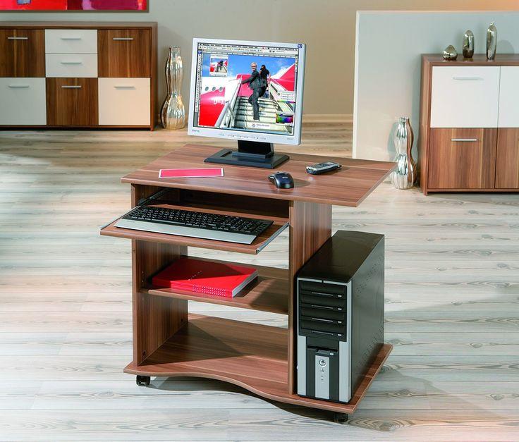 Bureau pour ordinateur au décor noyer, équipé de roulettes. Comprend un tiroir coulissant et une tablette réglable. Découvrez-le sur Emob.eu !