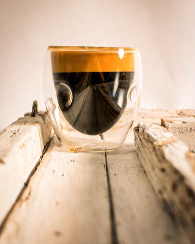 An espresso made with fresh roasted coffee from Calusa Coffee Roasters