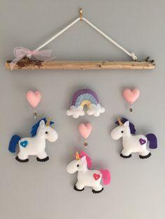 Unicorn Felt Mobile - babys mobile - childrens mobile - multicoloured mobile - Felt Craft | Etsy.com