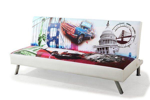 Sofá cama S. FRANCISCO, tapizado decorado - Tienda de Muebles-Colchones-Sofás Baratos Online: Amueblea