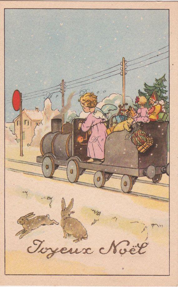 vintage French Christmas card, a printable digital image no. 1479 ...