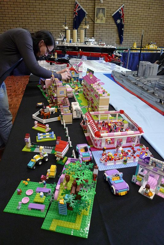 An impressive collection of Lego Friends - the cafe in the foreground must include at least 5 or 6 of the off-the-shelf cafe kits.
