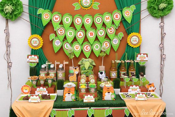 Safari Baby Shower Package Collection Set Mega by leelaaloo.com II #diy #party #theme #safari #animals #theme #brown #leelaaloo