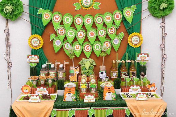 Safari Baby Shower Package Collection Set Mega by leelaaloo.com II #diy #party #theme #safari #animals #theme #brown #leelaaloo