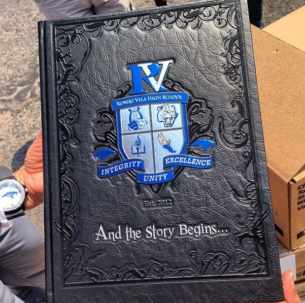 "My first yearbook as the school's first Journalism teacher!  Robert Vela High School Inaugural Year; Legacy, 1st Edition; Theme: ""And the story begins...""  Facebook: RVHS Yearbook Staff;  Adviser: Sandra Casperson"