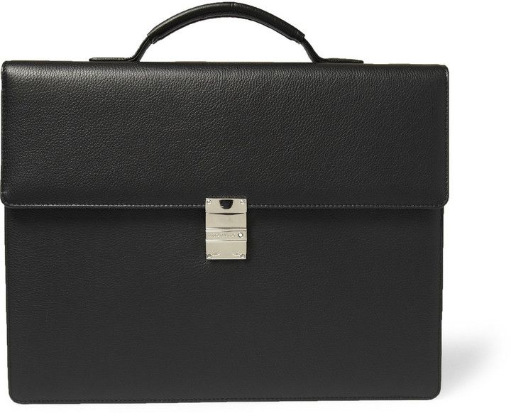 $1,175, Black Leather Briefcase: Montblanc Meisterstck Leather Briefcase. Sold by MR PORTER. Click for more info: https://lookastic.com/men/shop_items/142520/redirect