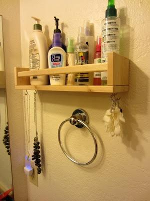 Ikea Hack-Bathroom & Jewelry Storage  I've seen many hacks using this spice rack. Love the idea of hooks on the bottom.