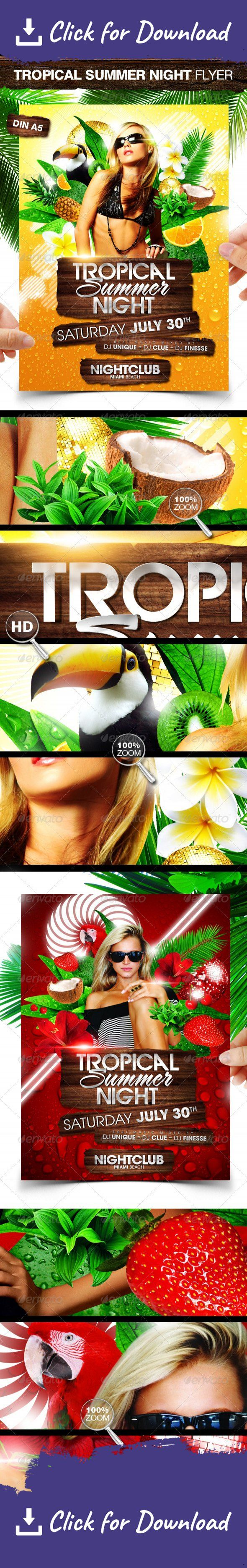 """beach, break, club, disco, event, exotic, flower, fruit, girl, holiday, house, jungle, music, night, nightclub, palm, paradise, party flyer, poster, reggae, rnb, salsa, sexy, spring, summer, tropical, water, wild, woman, wood """"Tropical Summer Night"""" party flyer template for any fresh summer event in 2 different designs. Hope you like it.   You get 2 x DIN A5 Flyer A yellow version and a red version. both with different elements.   You can modify everything very easy and quick. Changin..."""