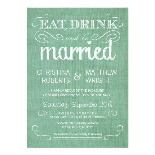 Farm Wedding Invitations Burlap Mint Green Rustic Wedding Invitations