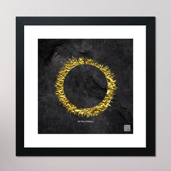 All That Glitters Circular Sound Wave Framed Print With Contactless Playback Option 440mm x 440mm