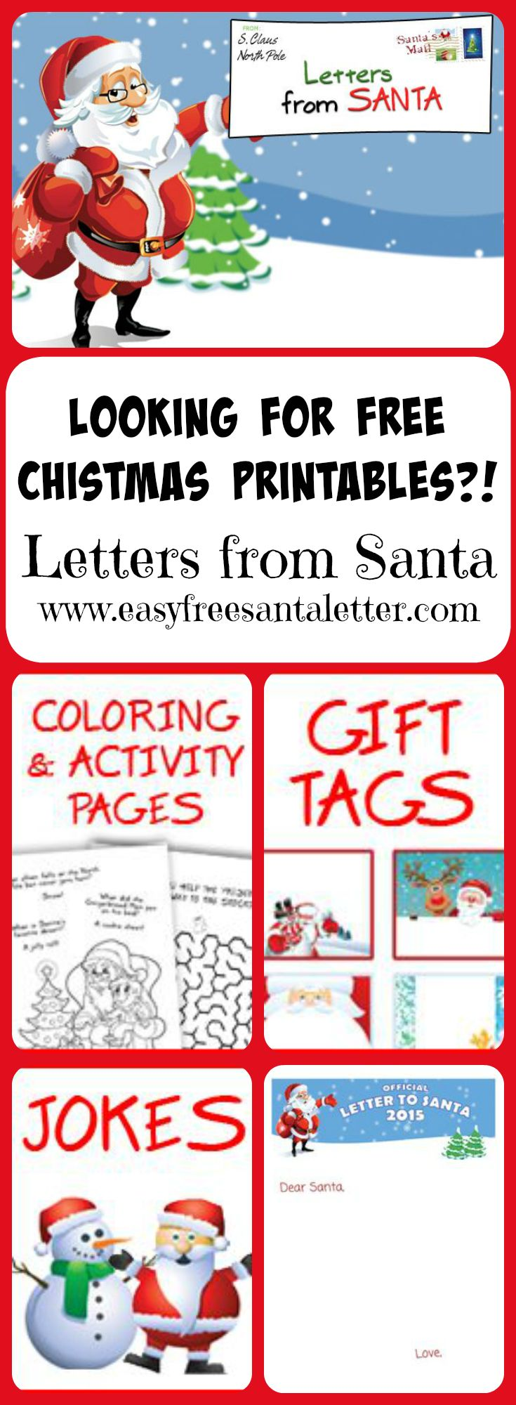 Free Santa Printables!! Need a Letter from Santa? A Letter TO Santa? Gift Tags? Coloring or Activity Pages? Santa's got 'em...come and get 'em! Take a minute and have a giggle on our jokes page while you are at it! | Letters from Santa | www.easyfreesantaletter.com