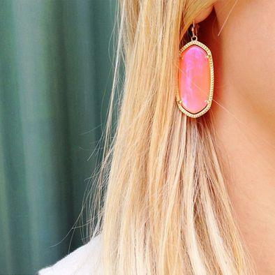 Kendra Scott Elle Earrings in Iridescent Tangerine. Coming soon!