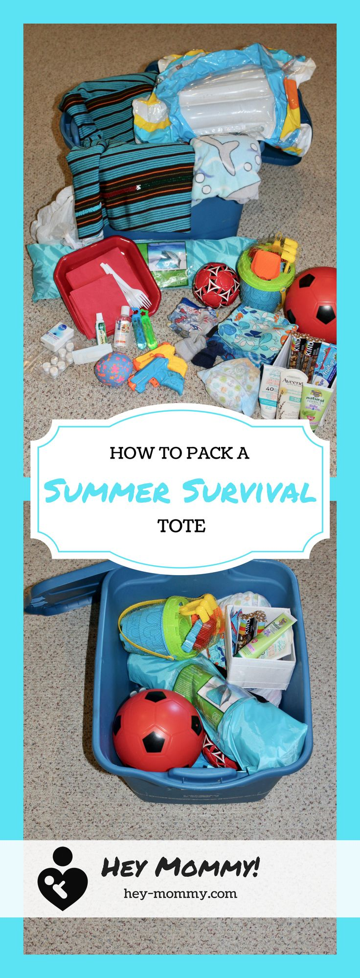 How to pack a Summer Survival Tote and some ideas for essentials to include.
