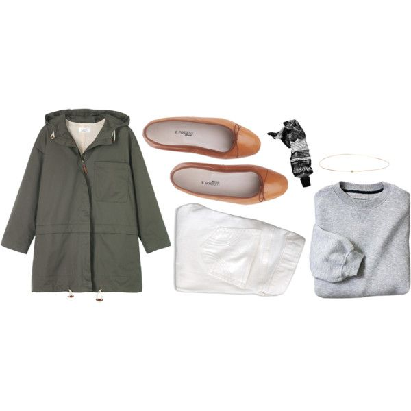 Grey sweater, white jeans, brown ballet flats, olive parka (or use utility jacket)