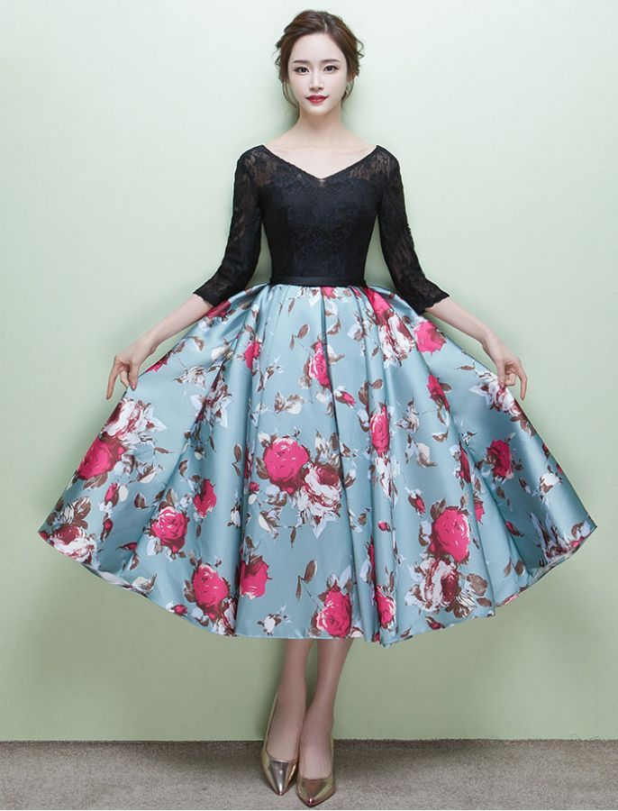 1950s Grace Kelly Inspired Floral Dress Prom Wedding Dress